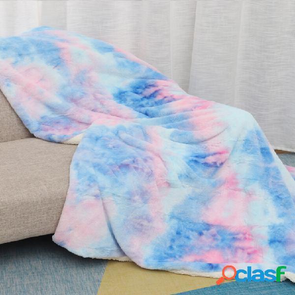 Cobertor de pelúcia de dupla face tingido arco-íris cobertor de sofá com ar condicionado