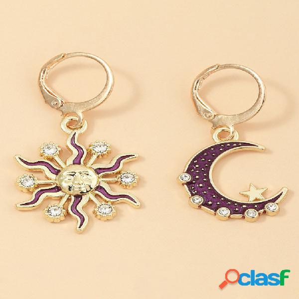 Moda sun moon pingente brincos diamond mount star metal mulheres brincos joias