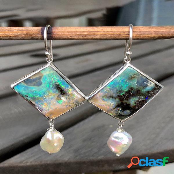 Rombo geométrico vintage feminino brincos opal pearl pingente brincos presente de joia