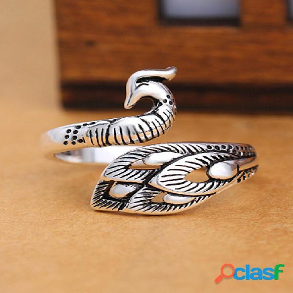 Anéis de prata antigos étnicos pavão vintage abrindo anéis de dedo ajustáveis para mulheres