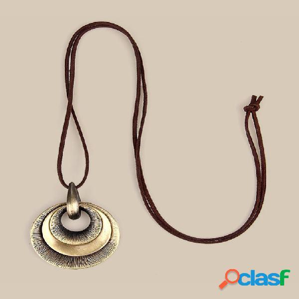 Geométrico redondo vintage pingente colares antigos de ouro colares longos de couro