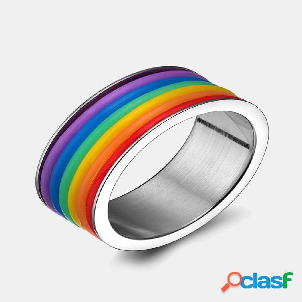Anéis de dedo da moda de aço inoxidável rainbow silicone anéis para mulheres homens lgbt banda joias unissex