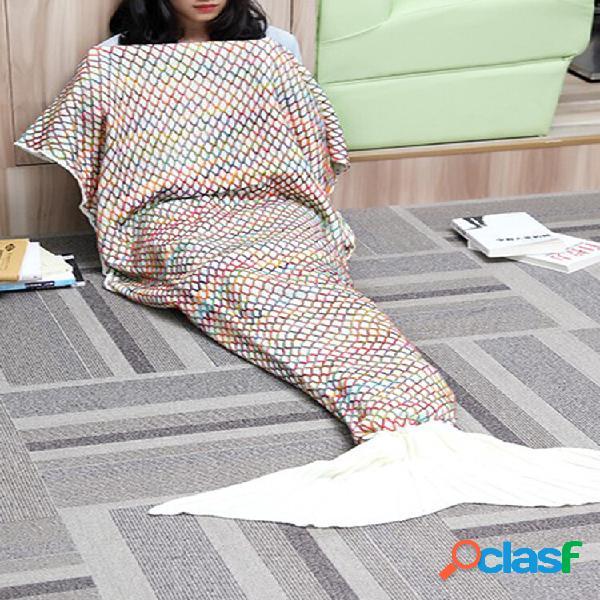 Cobertor de cauda de sereia de fio 185 * 90 cm de malha artesanal de crochê super soft tapete de sofá-cama