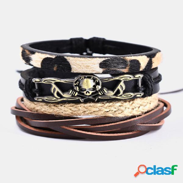Conjunto de pulseiras femininas de 4 peças étnicas leopardo música vintage caveira pulseira de couro artesanal combinada