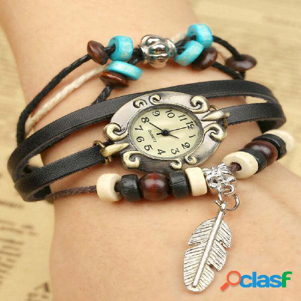 Quartzo multicamada de couro vintage watch pulseira de couro trançado pingente watch