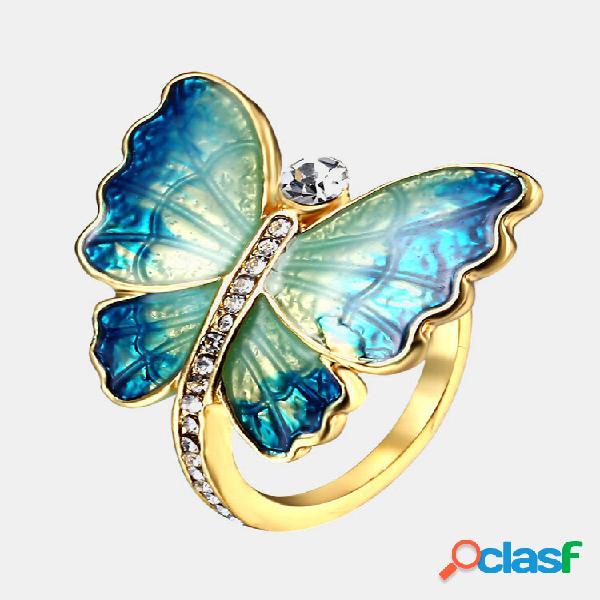 Anéis de dedo de borboleta étnico elegante esmaltado anéis de diamante vintage para mulheres
