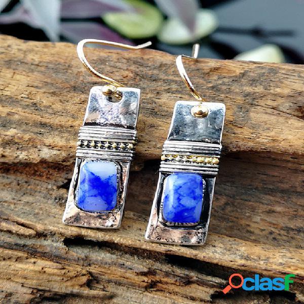 Pedra natural feita à mão de metal geométrico vintage pingente brincos mármore azul irregular padrão brincos