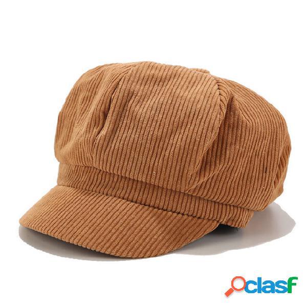 Veludo cor sólida feminino chapéu boné octogonal retrô