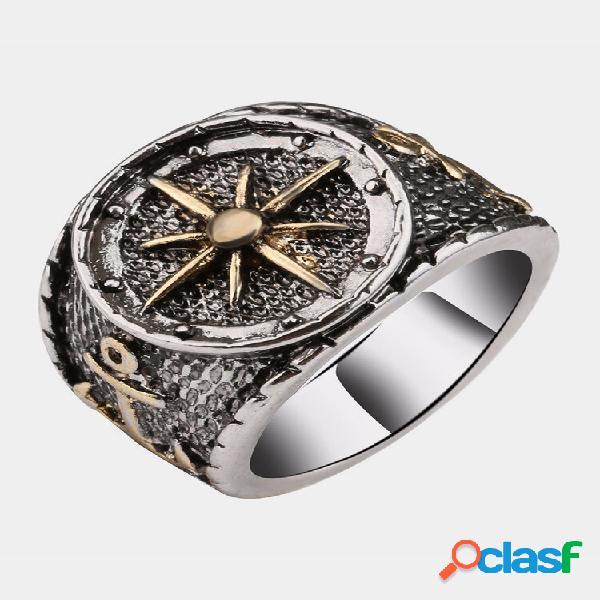 Anéis de dedo vintage antigos de prata astrolábio bússola padrão anéis joias étnicas para homens