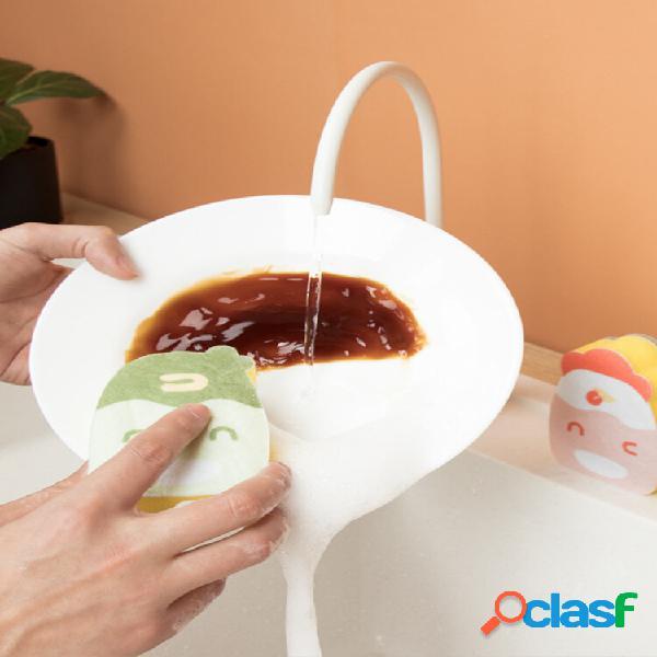 Desenhos animados bonitos esponja de limpeza de cozinha esponja mágica borracha panela panela utensílios de limpeza de c