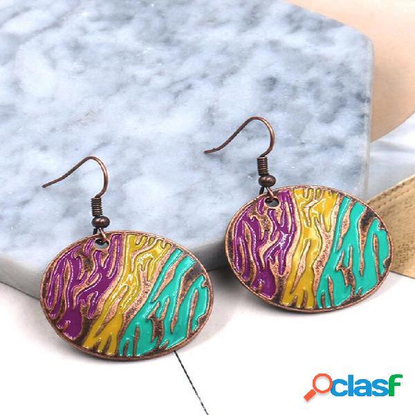 Bohemian round orelha drop colorful geométrico vintage dangle brincos presente para mulheres