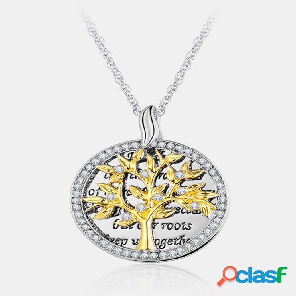 Colar geométrico vintage redondo pingente strass de metal oco árvore da vida pingente colar