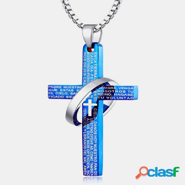 Moda pingente colar grapheme cross hollow round encanto colar jóias étnicas para homens