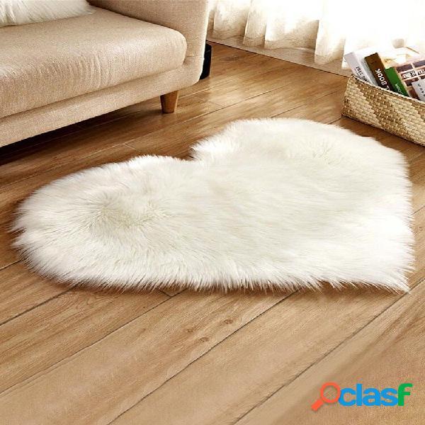Tapete longo de pelúcia em formato de coração para casa, sala de estar, tapete, decoração de cama soft tapete