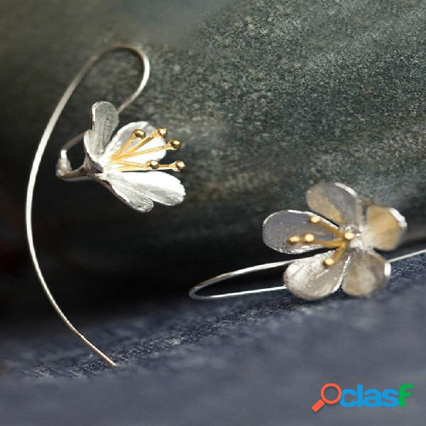 Vintage s925 sterling silver pingente brincos geométrica estereoscópica flor borla long brincos