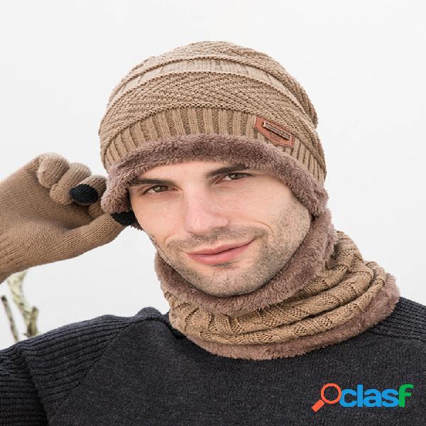 Conjuntos masculinos 3 peças de cor sólida mantenha quente moda casual lã chapéu lenço de gorro luvas de dedo inteiro