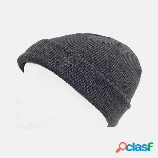 Homens estilo buraco quebrado outono inverno mantenha aquecido espesso cor sólida senhorio caveira chapéu malha chapéu