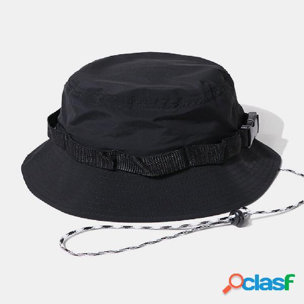 Balde de proteção solar de secagem rápida unissex com cordão fivela cor sólida chapéu