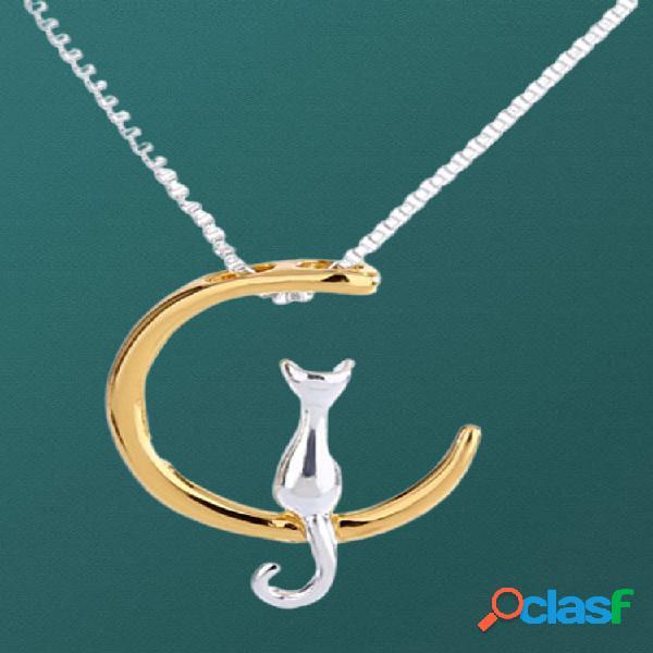 Colar de gato lua fofa na moda geométrico animal pingente corrente de clavícula