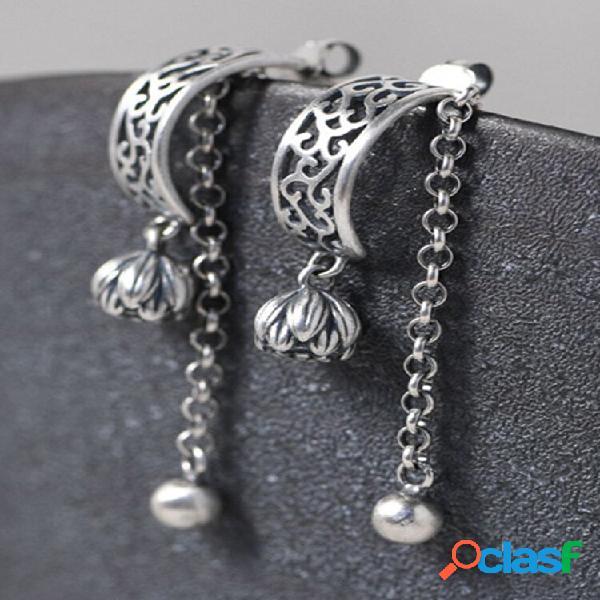 Vintage 925 prata esterlina fosco orelha parafuso prisioneiro flor botão pérola corrente pequena bola borla feminina bri