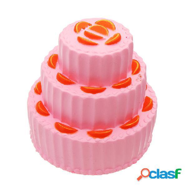 Três camada de laranja bolo squishy lento rising anti stress coleção presente brinquedo macio