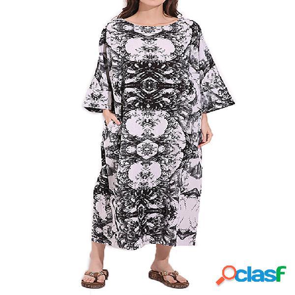 Vintage women printed long sleeve o-neck bolsos robe dress