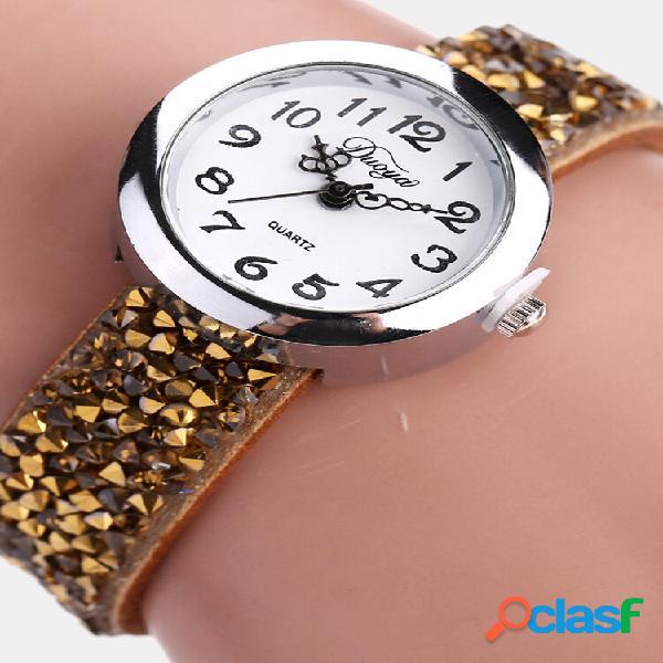 Moda relógio de pulso de quartzo multicolor couro strap pulseira causal watch para mulheres