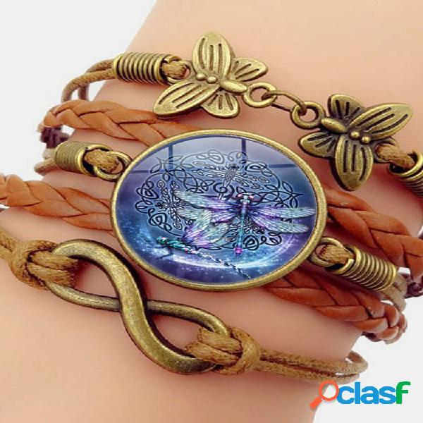 Pulseira feminina vintage multicamadas pulseira de couro estampado libélula pingente