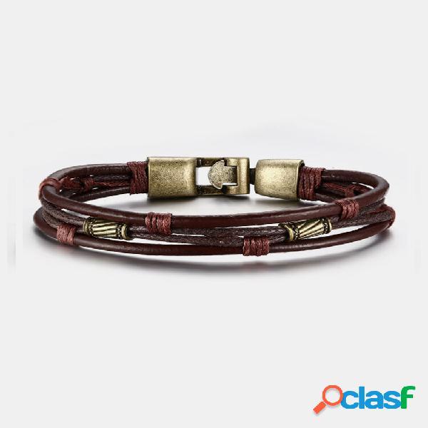 Pulseiras vintage multicamadas pulseira de couro com ondas mentais antigas joias étnicas para homens
