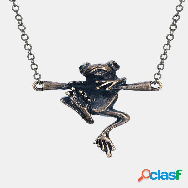 Colar vintage frog pingente colar animal oco temperamento