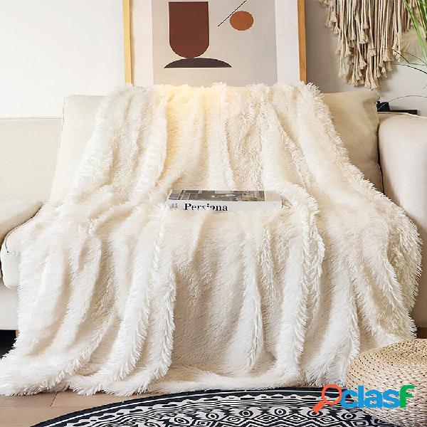 Cobertor decorativo extra soft de peles artificiais reversível felpudo leve longo cabelo