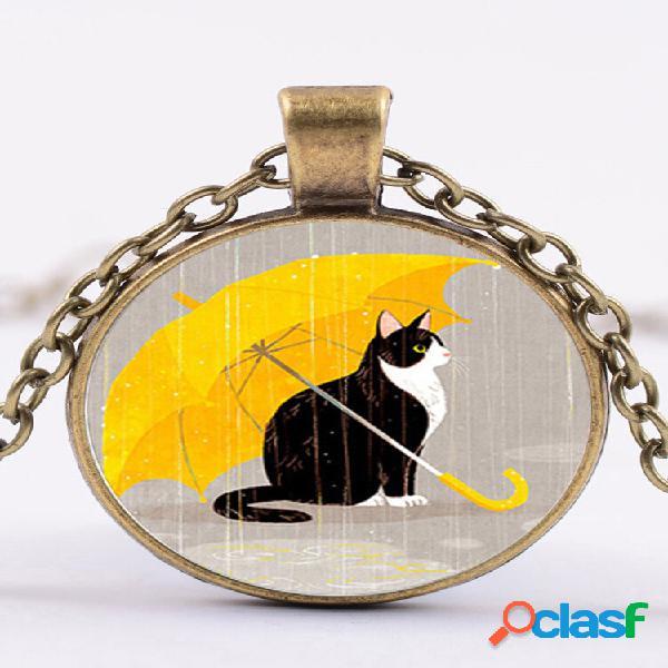 Colar feminino de vidro geométrico vintage impresso bonito desenho animado gato suéter corrente corrente de clavícula