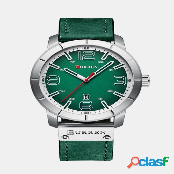 Curren 8327 estilo casual data display masculino relógio de pulso couro banda quartzo