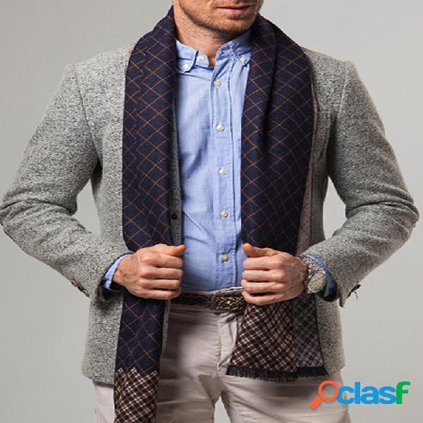 Homem cashmere casual universal business colorful classic xadrez padrão lenço manter aquecido