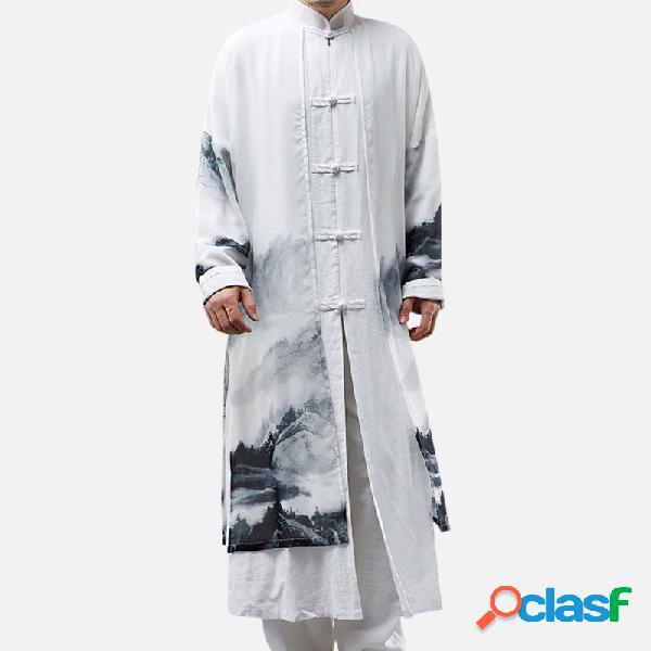 Falso de duas peças estilo chinês de algodão de linho chiffon splice longo t-shirt trench coat masculino casual robe