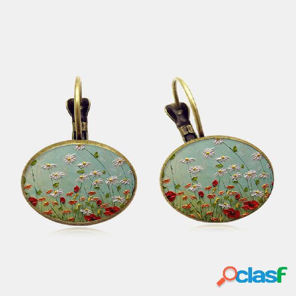 Geométrico vintage redondo de liga de vidro floral margarida padrão impressão brincos
