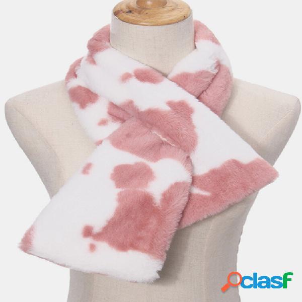 Pelúcia feminina mais engrossar quente casual vaca padrão lenço de proteção do pescoço todo fósforo