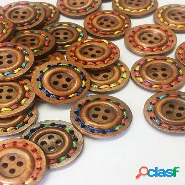100 unidades 25 mm redondo colorful madeira botões tricô costura materiais de bricolage
