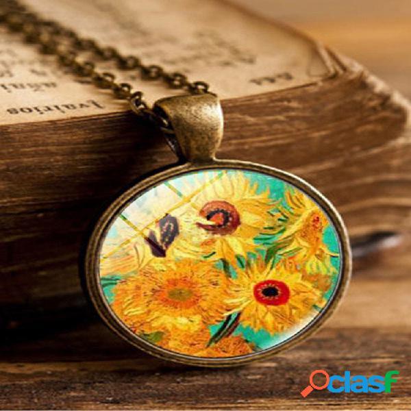 Colar vintage geométrico redondo de vidro de girassol pingente colar de metal impresso com gema de girassol corrente de