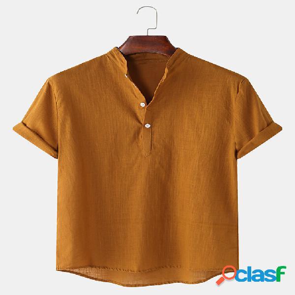 Homem respirável linho suporte colarinho manga curta sólida henley camisa