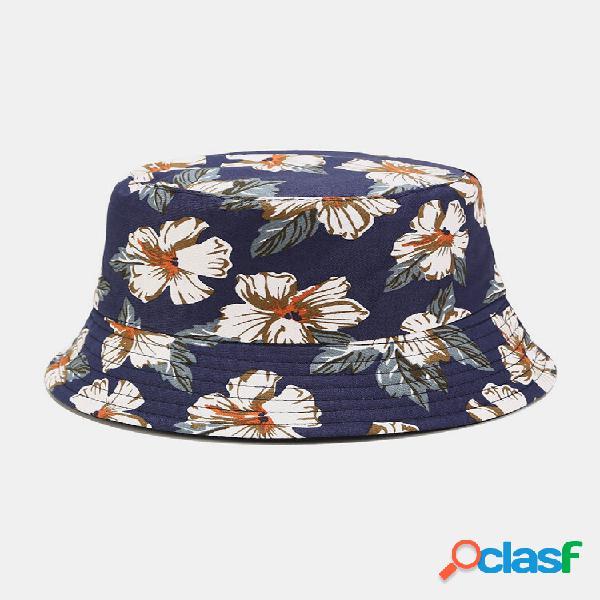 Impressão de sobreposição floral dupla-face feminina e masculina padrão balde de viseira casual para exterior chapéu