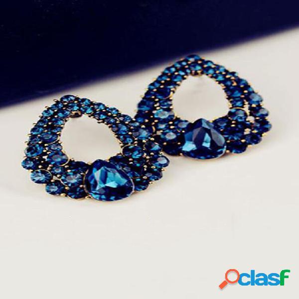 Moda orelha stud brincos blue gemstone hollow rhinestone drop brincos joias elegantes para mulheres