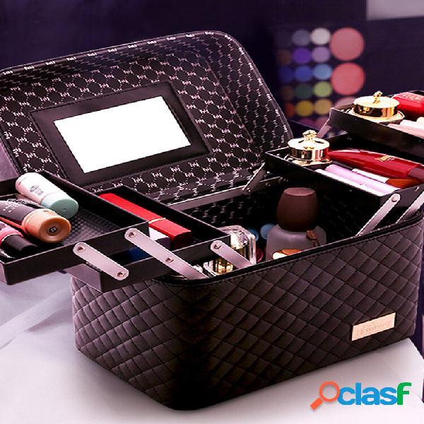 Quatro armazenamento de cosméticos aberto bolsa armazenamento portátil de grande capacidade bolsa