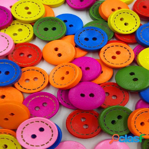 100 unidades da cor do arco-íris de costura de madeira botões redondo dois furos, tricô, costura, materiais faça você me