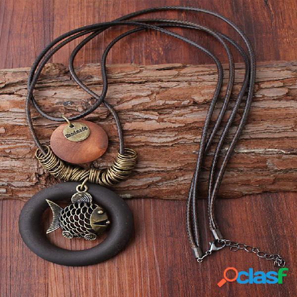 Étnico geométrico madeira pingente colares vintage peixe duas camadas cera corda colares para mulheres