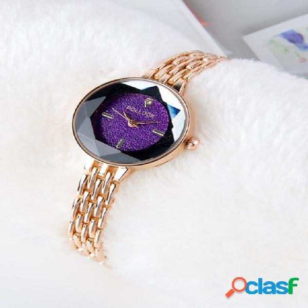 Relógios femininos da moda pulseira fina ouro rosa moderno colorful relógios minimalistas de quartzo com mostrador para