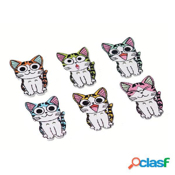 50 unidades gato de madeira botões 2 furos impressão natural artesanato madeira costura gatinho para fazer roupas