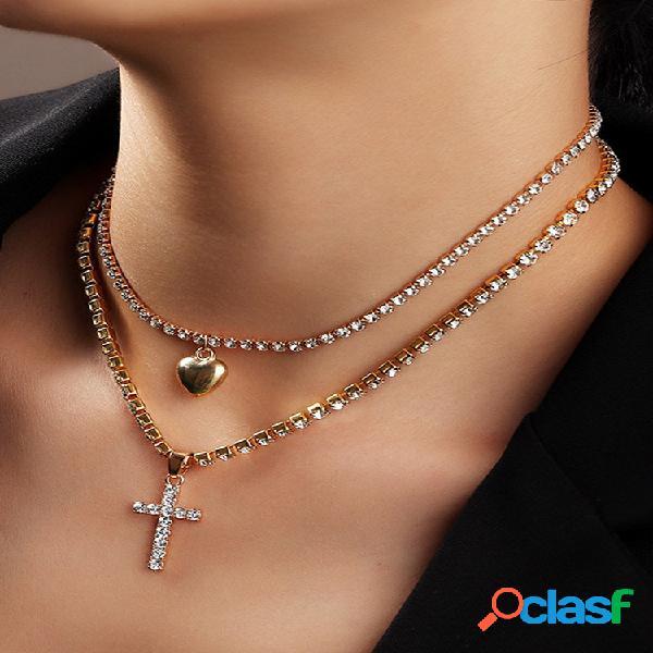 Vintage metal geométrico cruz pêssego coração pingente colar temperamento strass colar multi-camada corrente de clavícul