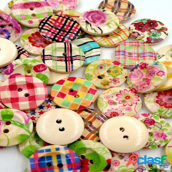 50 unidades 20mm colorful madeira botões retro round diy costura botões