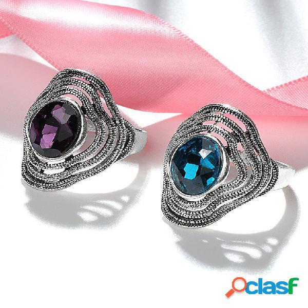 Anel de pedra preciosa oco de borla de metal vintage anel geométrico oval de vidro azul